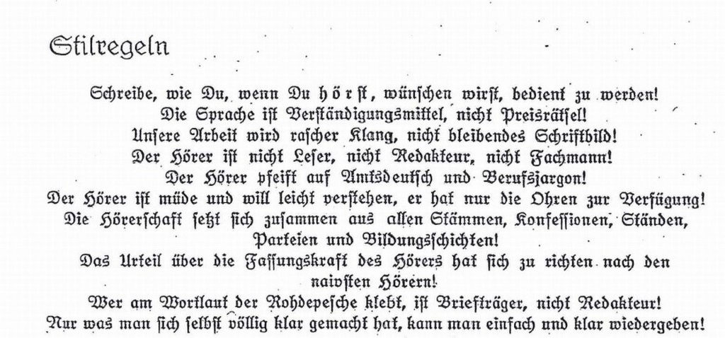 """""""Sprache ist Verständigungsmittel, nicht Preisrätsel!"""" – Räuschers Stilregeln: Bis heute gültig."""